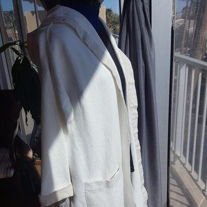 Open front hoodie jacket white cotton linen sz XL